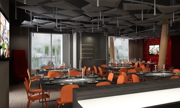 Førstesalen på restauranten Identitá EXPO. De tre etager er alle indrettet med det bedste af italienske design. Der skal reserveres til Identitá EXPO.