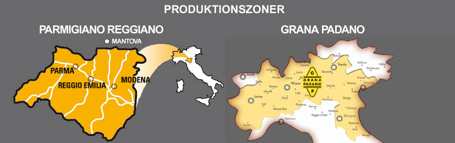 Produktionszonerne for henholdsvist Parmigiano Reggiano og Grana Padano