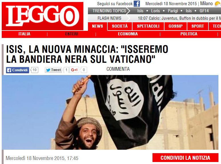 En time efter at denne artikel blev onlinet skrev italienske medier om en dufrisk trussel fra ISIS/Daesh, offentliggjort i magasinet Dabiq.
